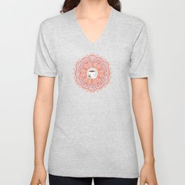 Cute Tea Lover Mandala with Tea Quotes Unisex V-Neck