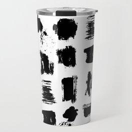 Modern black white artistic watercolor brushstrokes Travel Mug