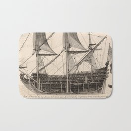 Vintage Naval Vessel Interior Diagram (1693) Bath Mat