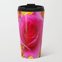 GOLD-YELLOW & PINK ROSES ON BLACK Travel Mug