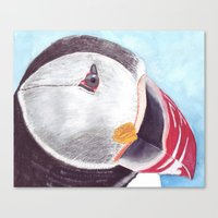 puffin Canvas Prints featuring Puffin by Art by Frydendal