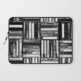 Music Cassette Stacks - Black and White - Something Nostalgic IV #decor #society6 #buyart Laptop Sleeve