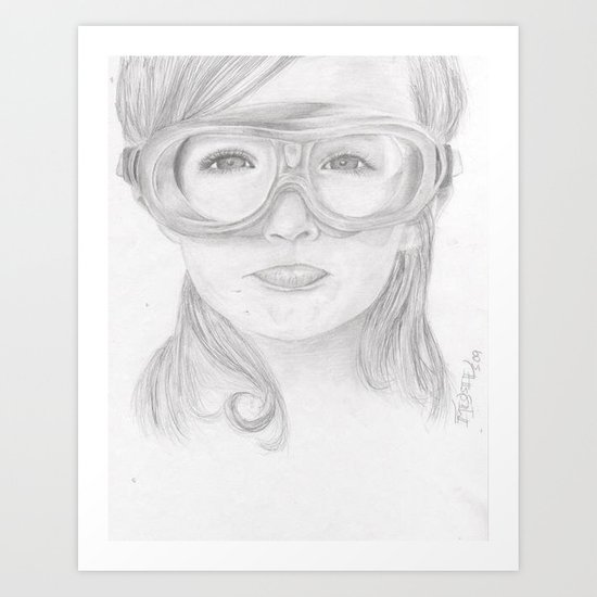 Goggles Girl  Art Print