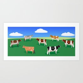 Dairy Breeds // Hillside Art Print
