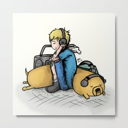 Headphones (with Finn and Jake) Metal Print