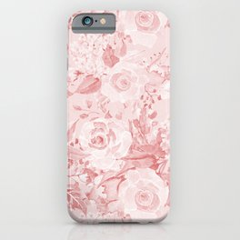 Modern rustic blush pink white watercolor floral iPhone Case