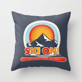 SKI ON! retro badge Throw Pillow