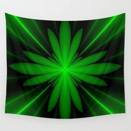 Neon Green Flower Fractal Wall Tapestry