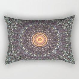 Sun Circle Bohemian Geometric Thread Weave Pattern Original \\ Yellow Gray Blue Purple Color Scheme Rectangular Pillow