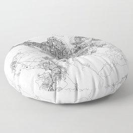 Reykjavik White Map Floor Pillow