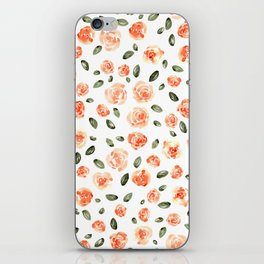 Peach Roses with Olive Leaves // Hand Painted Watercolor Flowers // Peach Roses with Green Leaves iPhone Skin