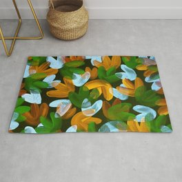 Vibrant Acrylic Painting Layered Tulips Floral Pattern Multi Colors Green White Brown Rug