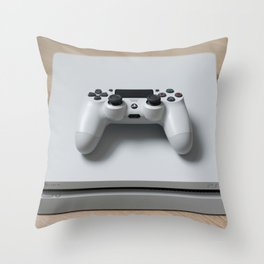 Sony PlayStation 4 Slim Glacier White game console Throw Pillow