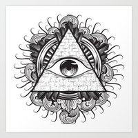 all seeing eye Art Prints featuring All Seeing Eye by E1 illustration