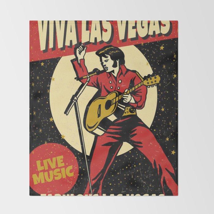 Elvis -Retro Las Vegas Poster Throw Blanket