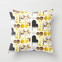 mortal instruments Throw Pillows featuring Jazz instruments by Ana Linea