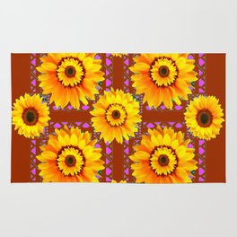 CINNAMON COLOR YELLOW SUNFLOWERS ART Rug
