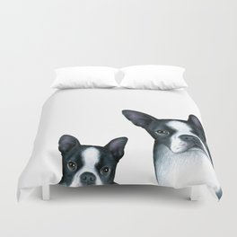 Boston Terrier Dogs black and white Duvet Cover