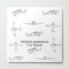 North American T-6 Texan Blueprint Style Artwork Metal Print