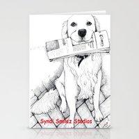 golden retriever Stationery Cards featuring Golden Retriever Morning by Syndi Smilez Studios