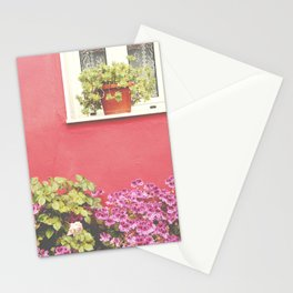 Pink wall and flowers Stationery Cards
