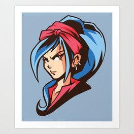 Manga Girl Bue Hair Art Print