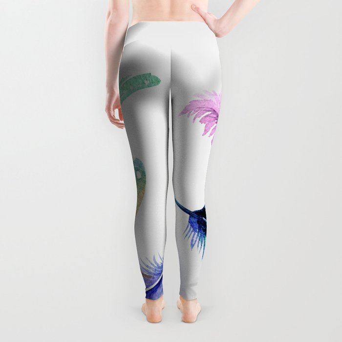 Watercolor Feather Leggings
