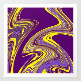 Purple and Yellow Fluid Painting Art Print