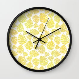 Summer Leaves Pattern Wall Clock