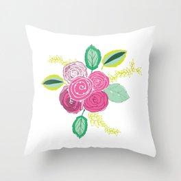 Belles Fleurs - pink roses Throw Pillow