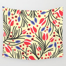 Waves of Flower (Bright Color Floral) Wall Tapestry
