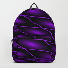 Slanting repetitive lines and rhombuses on dark violet with intersection of glare. Backpack