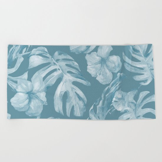 Tropical Escape Teal Blue Leaves + Hibiscus Beach Towel
