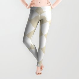 Large Diamonds - White and Pearl Brown Leggings