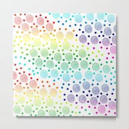 Rainbow Circles in Circles and Dots Metal Print