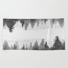 Black and white foggy mirrored forest Beach Towel