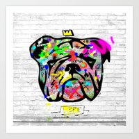 bulldog Art Prints featuring Bulldog by morganPASLIER