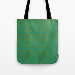 Doors & corners op art pattern in olive green and aqua blue Tote Bag