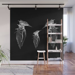 Kingfisher Family. White on black background-(Red eyes series) Wall Mural