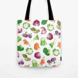 Veggies illustrations pattern   Watercolor farm veggies   Vegan pattern Tote Bag