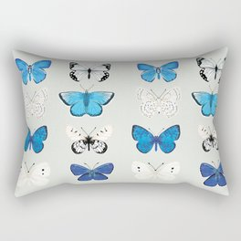 Lepitoptery No. 2 - Blue and White Butterflies and Moths Rectangular Pillow