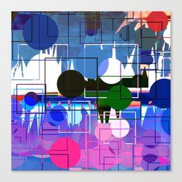 Multi- Blue Sticker Line Abstract Design Canvas Print