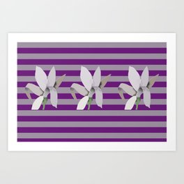 Grey Flowers-Abstract on Striped Purple Background Art Print