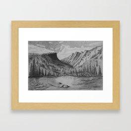 Mountain in Pencil Framed Art Print
