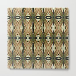 Olive Green Caramel Coffee  Brown Rustic Native American Indian Cabin Mosaic Pattern Metal Print
