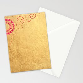 Pata Pattern in Pink on Gold Stationery Cards