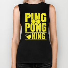 Ping Pong Gift for Table Tennis Champions, Players and Bat and Ball Fans Biker Tank