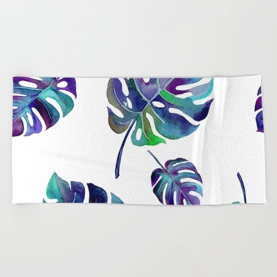 watercolor leaves Beach Towel