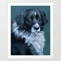 border collie Art Prints featuring Border Collie by MMGoldenArt