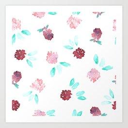 Watercolor Clover Flowers Pattern Art Print